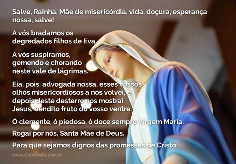 oração Salve Rainha estatua